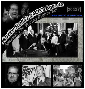 justice scalia blueopt blog graphic1Ebw border 285x300 Justice Scalias Racist Agenda